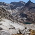 View over Lower Monarch Lake and Upper Monarch Lake from the Sawtooth Pass Trail. - Monarch Lakes Hike