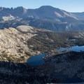 Big Five Lakes, Big Arroyo, and the Kaweah Peaks Ridge as seen from a ridgeline above Columbine Lake.- Columbine Lake