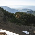 View northwest from the summit of Hurricane Hill toward the Strait of Juan de Fuca.- Hurricane Hill Trail