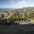 View east from Hurricane Hill toward the Strait of Juan de Fuca and Mount Angeles (6,458').- Hurricane Hill Trail