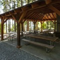 Overnight picnic shelter at Sequim Bay State Park.- Sequim Bay State Park Campground