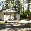 Restroom and shower facilities at Sequim Bay State Park Campground.- Sequim Bay State Park Campground