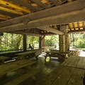Group Camp picnic shelter at Sequim Bay State Park Campground.- Sequim Bay State Park Campground
