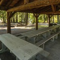Day use picnic shelter at Sequim Bay State Park.- Sequim Bay State Park Campground