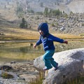 Jumping rocks in the alpine basin to the west of the lower Bellas Lake.- Bellas Lakes