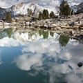 Back to Lake 9,860 and the end of the snow.- The Devils Bedstead via Boulder Lake Canyon