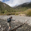 Crossing Wildhorse creek to access the Boulder Canyon Trail.- The Devils Bedstead via Boulder Lake Canyon
