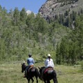 The trail is also a popular horseback riding destination.- Hyndman Creek + Hyndman Basin Hike