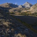 The aspens fade higher up the basin, but pockets of color in the fall are a beautiful highlight to the alpine landscape.- Hyndman Creek + Hyndman Basin Hike