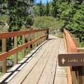 Hiking trails lead from the campground to nearby lakes.- Lakes Basin Campground