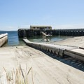 Port Townsend Marine Science Center, boat ramp, and dock at Fort Worden State Park.- Fort Worden Beach