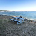 Picnic area on Port Townsend Bay at Fort Townsend State Park.- Fort Townsend State Park Campground