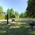 Picnic area and sports field at Fort Townsend State Park.- Fort Townsend State Park Campground