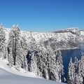 Views of Crater Lake begin right from the lodge.- The Watchman Snowshoe