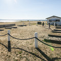 Horseshoe pits and cafe at Fort Flagler State Park lower campground.- Fort Flagler State Park Campground