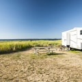 Typical campsite at Fort Flagler State Park lower campground.- Fort Flagler State Park Campground
