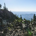 Backountry campsite on the rock outcropping along the Mount Ellinor Trail.- Mount Ellinor via Upper Trailhead
