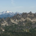 View northwest toward Mount Olympus (7,969', left) and Mount Cruiser (6,104', right).- Mount Ellinor via Upper Trailhead