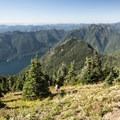View west from the summit of Mount Ellinor (5,952').- Mount Ellinor via Upper Trailhead