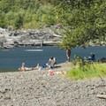 Swimmers at Bear Gulch Day Use Area.- Lake Cushman, Bear Gulch Day Use Area