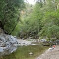 The springs are in this photo directly across the river from the camp.- Sykes Hot Springs