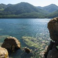 Lake Cushman, The Big Rock cliff-jumping spot.- Lake Cushman, The Big Rock