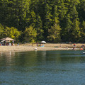 View south of the South Camp Day Use Area and beach.- Lake Cushman, Skokomish Park North Camp