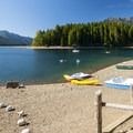 Skokomish Park Day Use Area and swimming hole with view of Mount Ellinor (5,940') and Mount Washington (6,255') to the north.- Lake Cushman, Skokomish Park South Camp