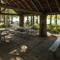 Picnic shelter at Skokomish Park Day Use Area.- Lake Cushman, Skokomish Park Beach + Day Use Area