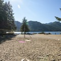 Sand volleyball court at Skokomish Park Day Use Area.- Lake Cushman, Skokomish Park Beach + Day Use Area