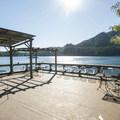 Lake Cushman Resort outside deck.- Lake Cushman Resort + Campground