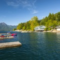 Boat dock at Lake Cushman Resort.- Lake Cushman Resort + Campground