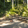 Group site at Lake Cushman Resort + Campground.- Lake Cushman Resort + Campground