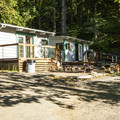 Cabins 11 and 12 at Lake Cushman Resort.- Lake Cushman Resort + Campground