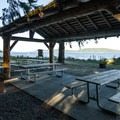 Picnic shelter in the day use area at Potlatch State Park.- Potlatch State Park Campground