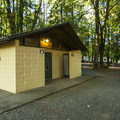 Restroom and shower facilities at Potlatch State Park Campground South Loop.- Potlatch State Park Campground