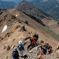 Working through some of the more technical terrain on the south ridge of Ryan Peak.- North Fork of the Big Wood - West Pass