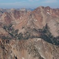 Looking across the broken volcanic landscape of Glassford Peak from the summit of Ryan Peak.- North Fork of the Big Wood - West Pass