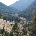 Looking down the North Fork Canyon toward the trailhead from a few hundred feet up the West Pass Trail.- North Fork of the Big Wood - West Pass