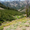 This is a view down West Pass Creek after climbing nearly 2,000 feet above the North Fork of the Big Wood.- North Fork of the Big Wood - West Pass
