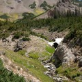 Remnants of snowfields in August at the head of West Pass Basin.- North Fork of the Big Wood - West Pass