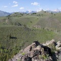 A view from a knob partway up the climb. The high peaks of the Pioneers are just peeking into view.- Driveway Gulch Hike