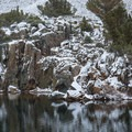 A lake reflection following a late fall storm.- South Lake, Bishop Pass Trail