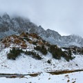 A wintery scene following a fall storm on Bishop Pass.- South Lake, Bishop Pass Trail