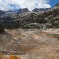 Drought has heavily impacted South Lake's water level.- South Lake, Bishop Pass Trail