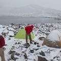 The camp is dusted with snow following the storm.- South Lake, Bishop Pass Trail