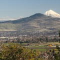 View of Roxy Ann Peak (3,576') and Mount McLoughlin (9,495') from Panorama Point.- Panorama Point via Oregon Trail