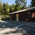 Restroom and shower facilities at Alder Park Main Campground West.- Alder Lake Park Campground