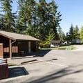 Restroom and shower facility at Alder Park Main Campground East.- Alder Lake Park Campground