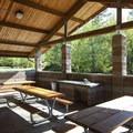 Picnic shelter at Alder Park Group Camp.- Alder Lake Park Campground